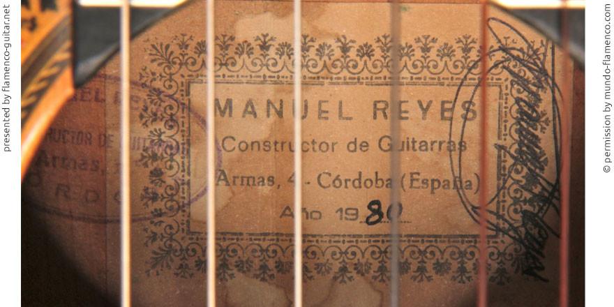 MANUEL REYES GUITAR 1980 - LABEL - ETIKETT - ETIQUETA