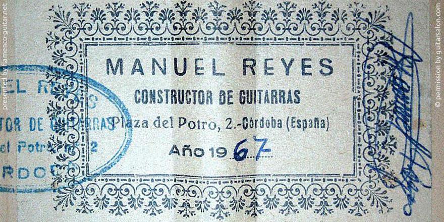 MANUEL REYES GUITAR 1967 - LABEL - ETIKETT - ETIQUETA