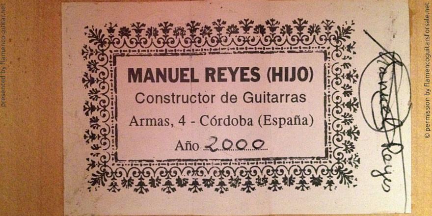 MANUEL REYES HIJO GUITAR 2000 - LABEL - ETIKETT - ETIQUETA