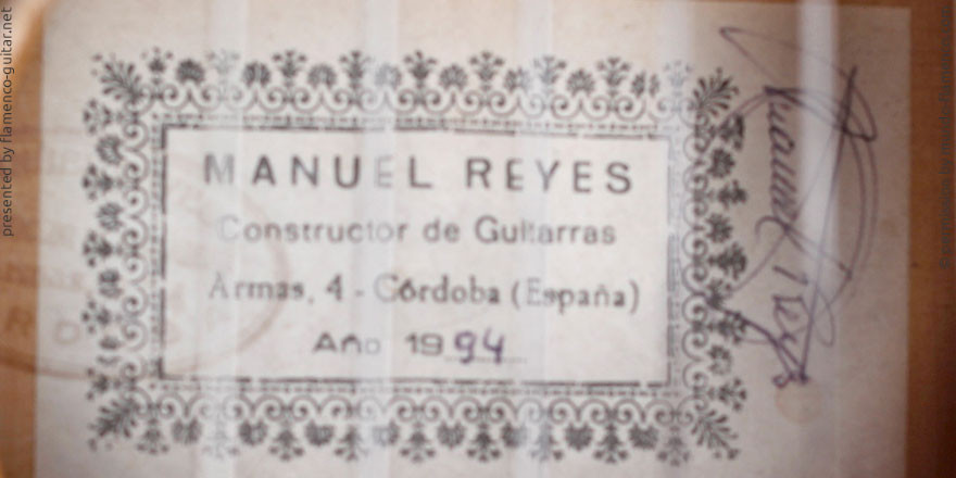 MANUEL REYES GUITAR 1994 - LABEL - ETIKETT - ETIQUETA