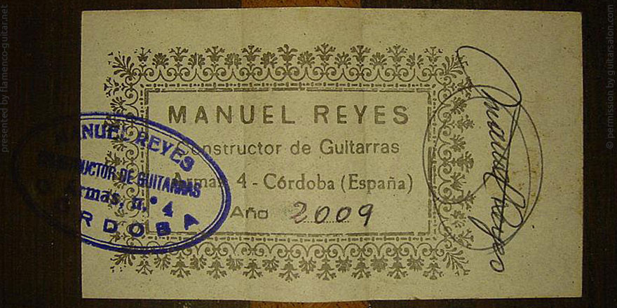MANUEL REYES GUITAR 2009 - LABEL - ETIKETT - ETIQUETA