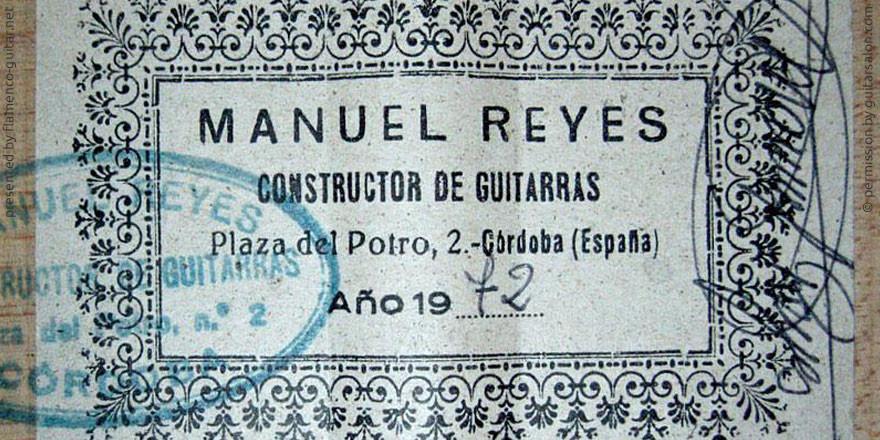 MANUEL REYES GUITAR 1972 - LABEL - ETIKETT - ETIQUETA