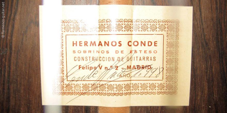HERMANOS CONDE - SOBRINOS DE ESTESO 1998 - LABEL - ETIKETT - ETIQUETA