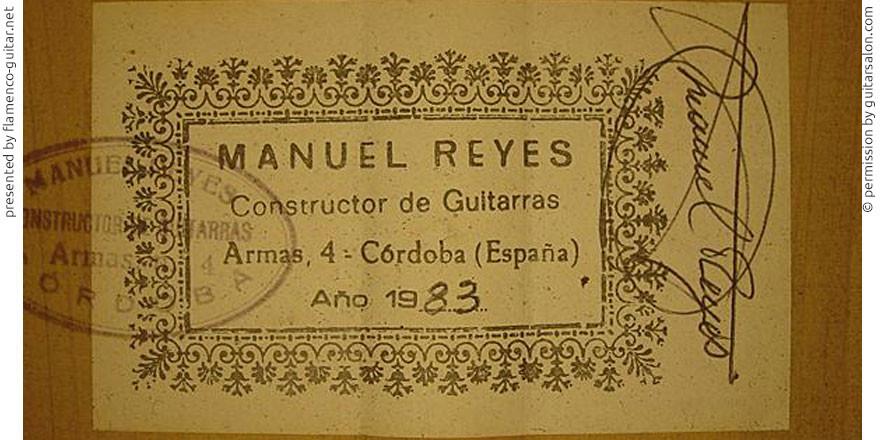 MANUEL REYES GUITAR 1983 - LABEL - ETIKETT - ETIQUETA