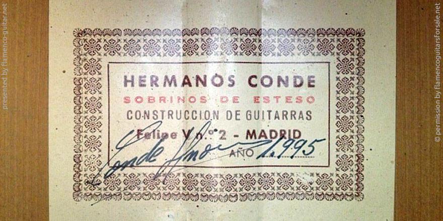 HERMANOS CONDE - SOBRINOS DE ESTESO 1995 #2 - LABEL - ETIKETT - ETIQUETA