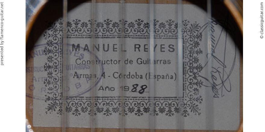 MANUEL REYES GUITAR 1988 #2 - LABEL - ETIKETT - ETIQUETA