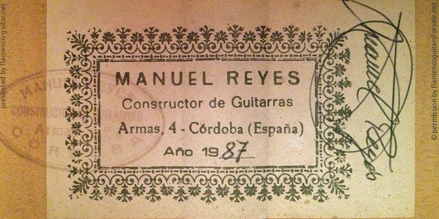 MANUEL REYES GUITAR 1987 - LABEL - ETIKETT - ETIQUETA