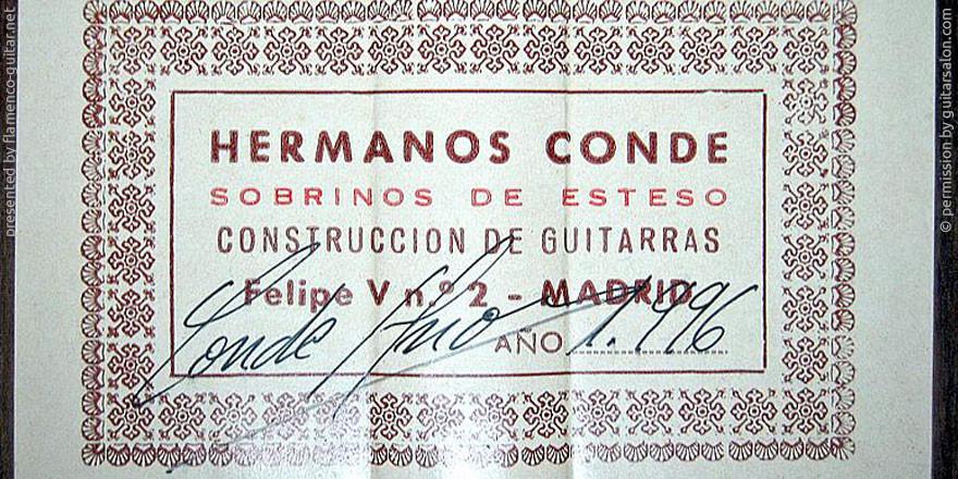 HERMANOS CONDE - SOBRINOS DE ESTESO 1996 - LABEL - ETIKETT - ETIQUETA