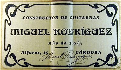Miguel Rodriguez 1986 - Guitar 5 - Photo 4