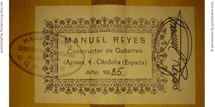 MANUEL REYES GUITAR 1985 - LABEL - ETIKETT - ETIQUETA