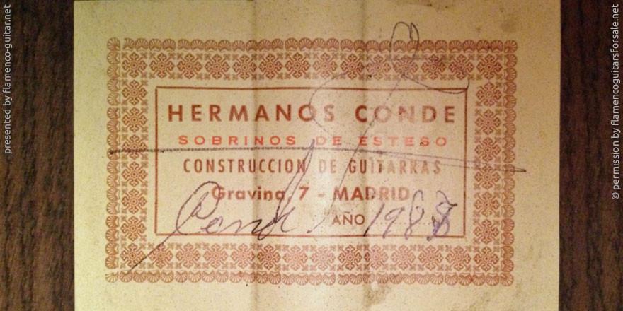 HERMANOS CONDE - SOBRINOS DE ESTESO 1987 - LABEL - ETIKETT - ETIQUETA