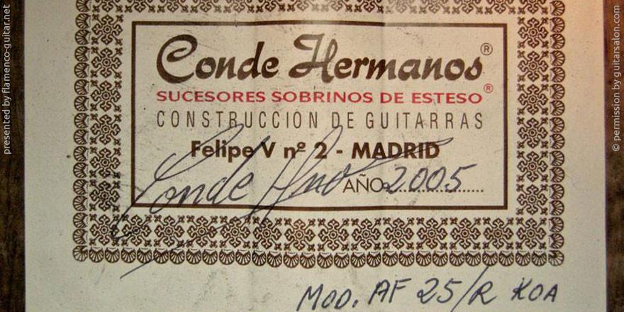 HERMANOS CONDE - SOBRINOS DE ESTESO 2005 - LABEL - ETIKETT - ETIQUETA