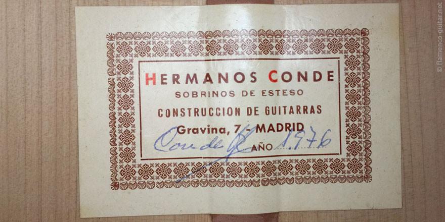 HERMANOS CONDE - SOBRINOS DE ESTESO 1976 - LABEL - ETIKETT - ETIQUETA