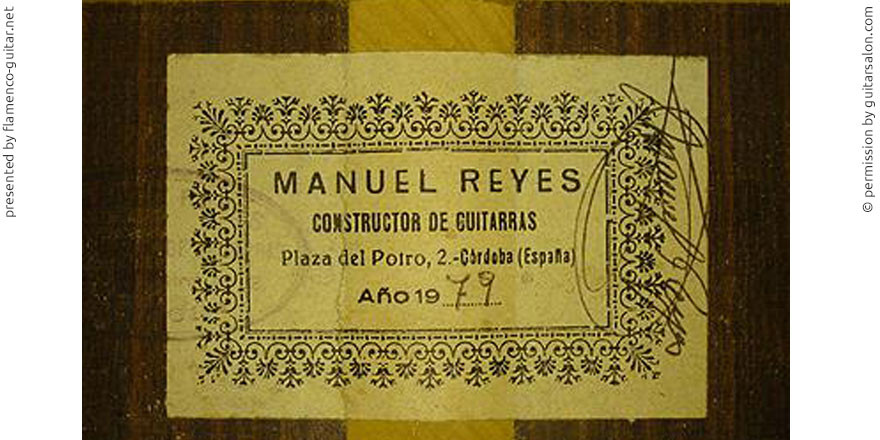 MANUEL REYES GUITAR 1979 - LABEL - ETIKETT - ETIQUETA