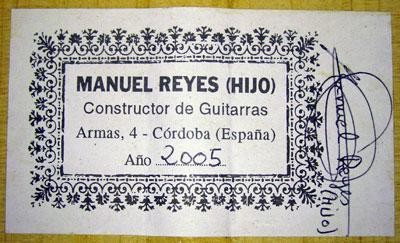 Manuel Reyes Hijo 2005 - Guitar 2 - Photo 1