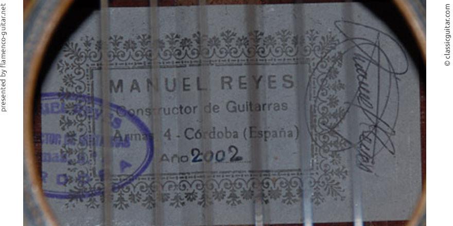 MANUEL REYES GUITAR 2002 - LABEL - ETIKETT - ETIQUETA