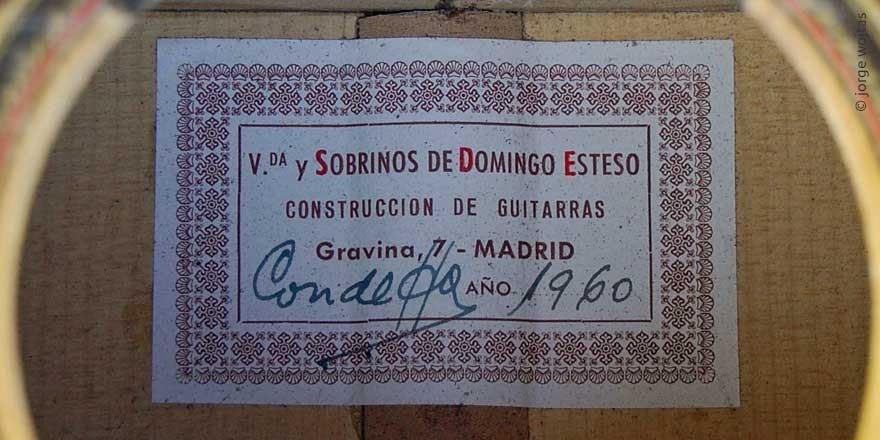 HERMANOS CONDE - SOBRINOS DE ESTESO 1960 - LABEL - ETIKETT - ETIQUETA