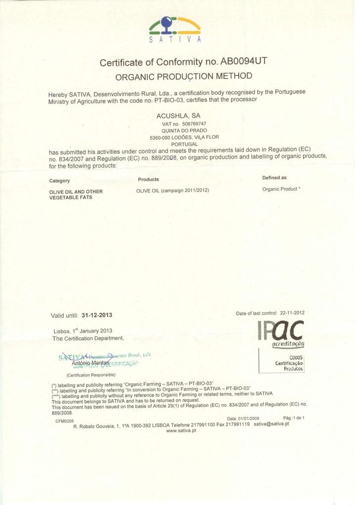 Acushla Bio-Zertifikat