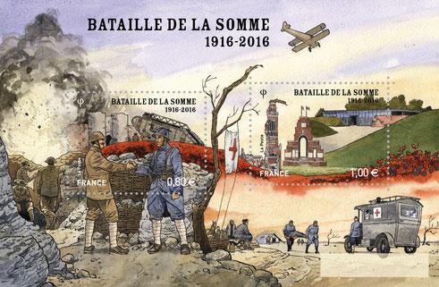 Albert- bloc de deux timbres Bataille de la Somme