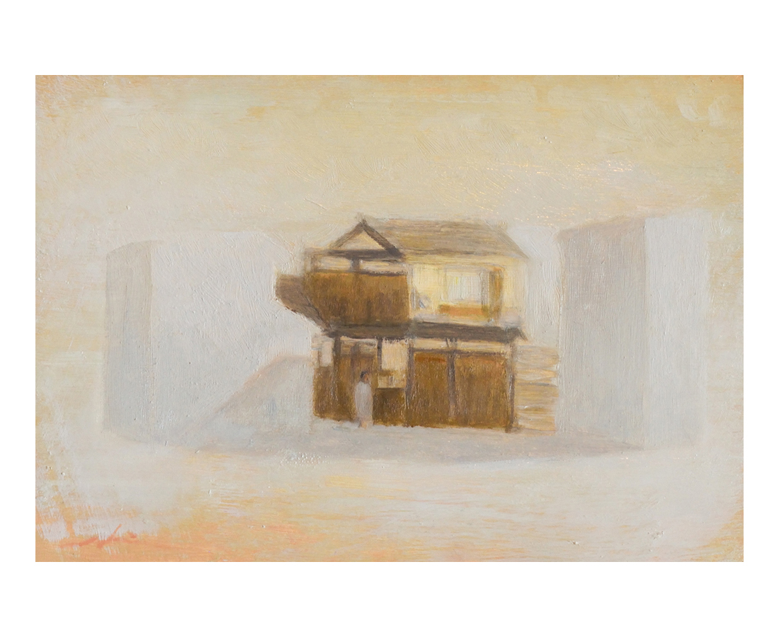 """""""Buildings of Kyoto""""  oil on canvas  27.3×19cm"""