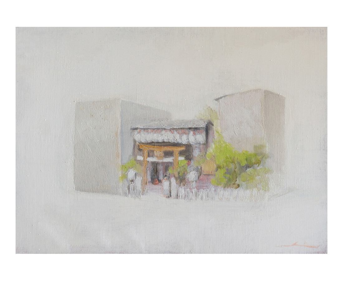 """""""Buildings of Kyoto""""  oil on canvas  33.3×22cm"""