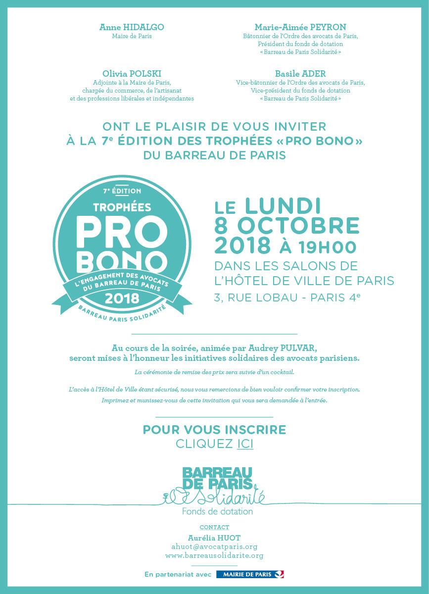 C'est demain !!! Trophées pro-bono du Barreau de Paris !