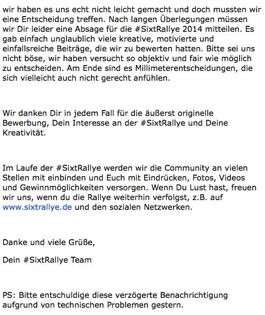 Die E-Mail-Absage von Sixt im Wortlaut.
