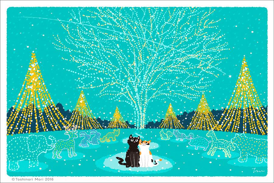 たびねこイラスト-24 クリスマス イルミネーション