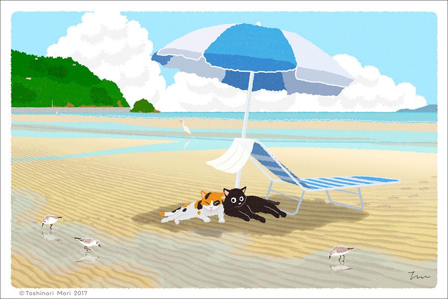 たびねこイラスト-32 夏のパラソル