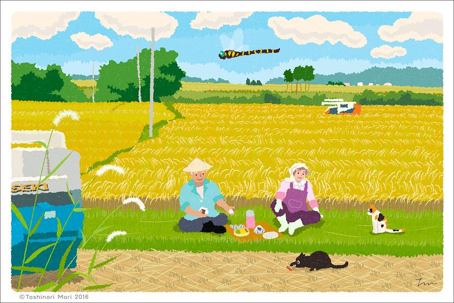 たびねこイラスト-21 稲刈りの昼休み