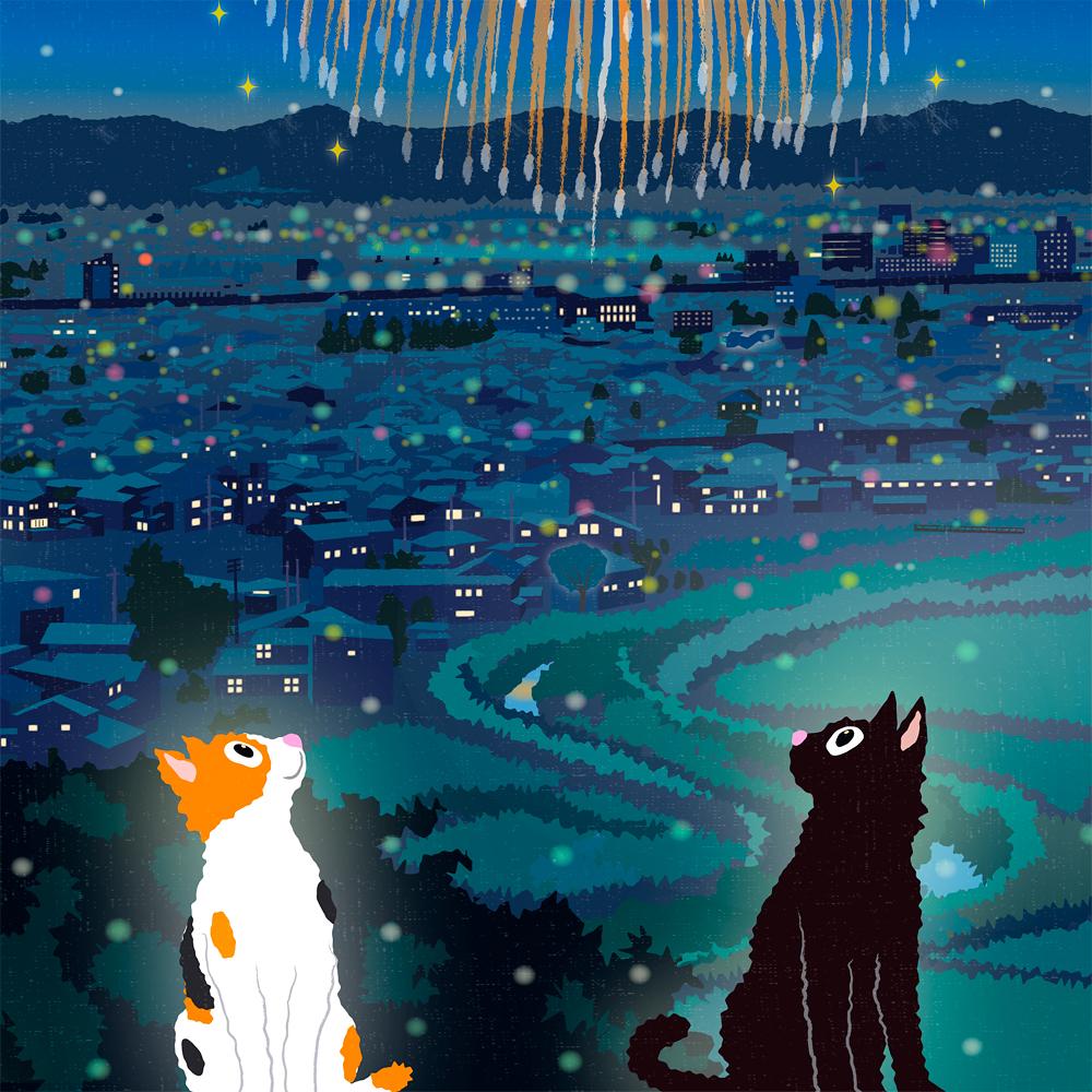 たびねこ新作イラスト「夏の打ち上げ花火」