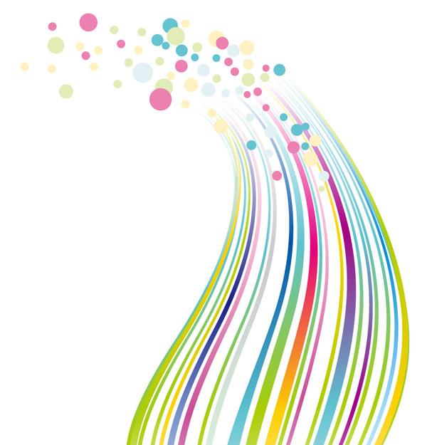 カラフルな曲線とドットの背景 Colorful Lines and Dots Vector Background