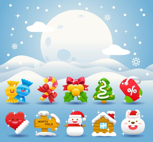 クリスマス飾りの光るアイコン christmas holiday icon