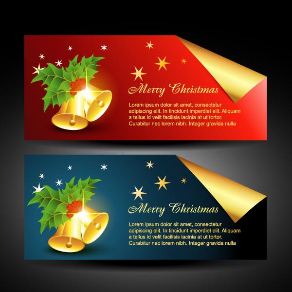 美しく輝くクリスマス バナー beautiful christmas banner vector3
