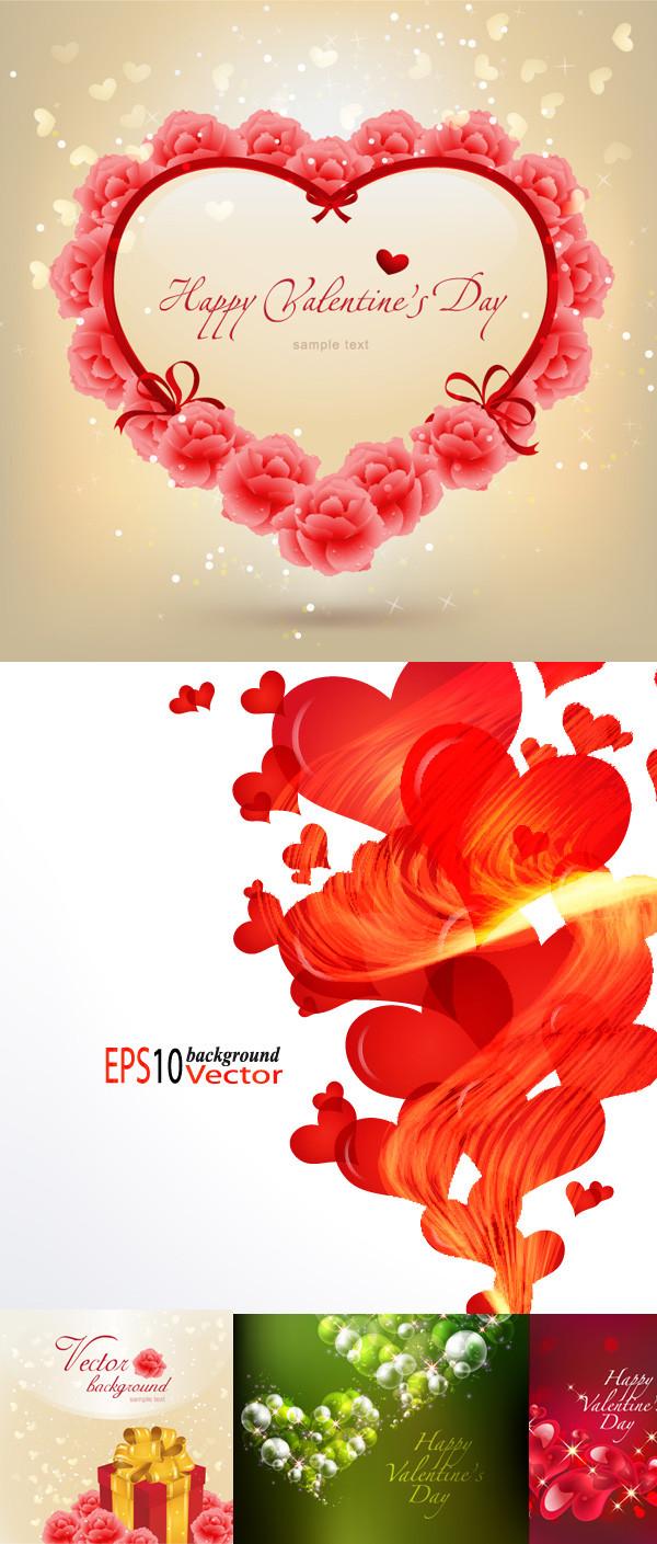 ハートで飾るバレンタインデーの背景 Valentine's Day heart-shaped background