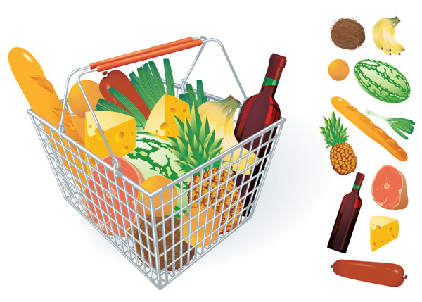 フルーツ 野菜と買い物カゴ fruits and vegetables and shopping basket