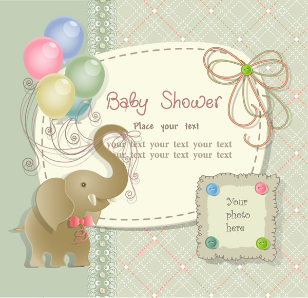 象さんと風船の表紙見本 Cartoons elephants balloons card
