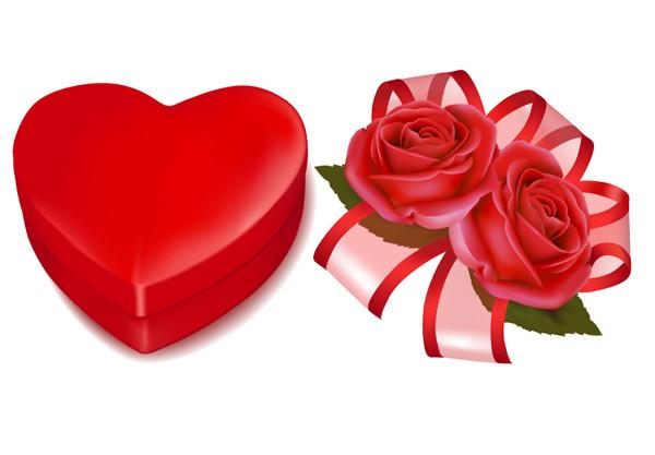 薔薇とハート型ギフトボックスの背景 Valentine's Day background roses hearts gift box