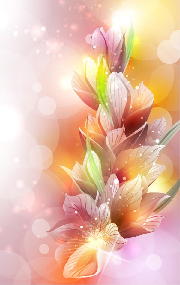 光の中の花ビラが美しい百合の背景 Spring Lily Flower Background