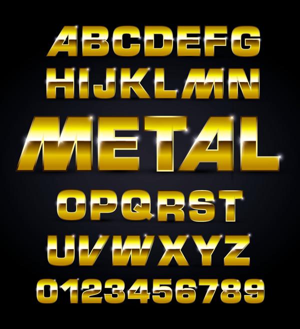 メタリックなアルファベット フォント Metal texture alphabet font design