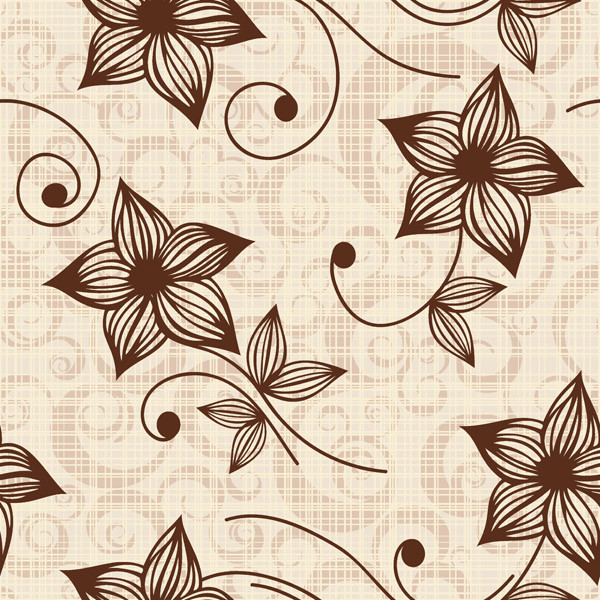 レトロな花と蝶の背景 retro butterflies flower pattern background1