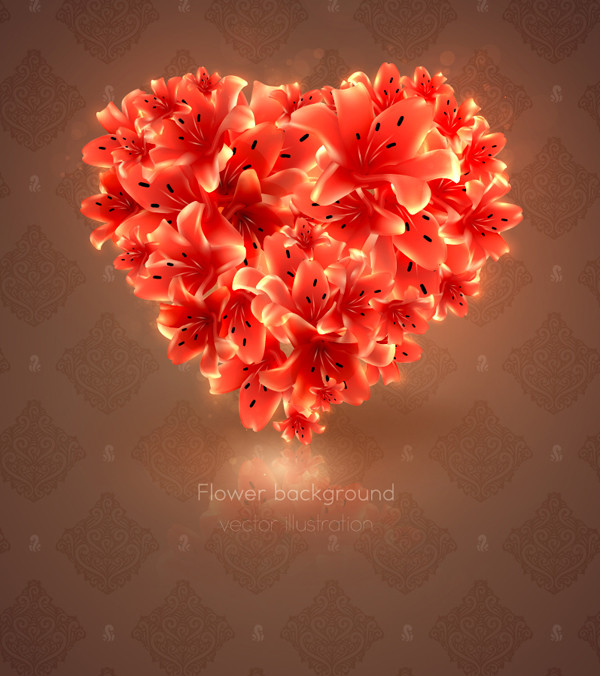 ハート型に花弁を集めた背景 romantic heart-shaped flowers background