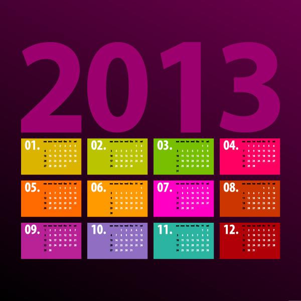 鮮やかなカレンダー テンプレート Vivid 2013 calendar templates vector1