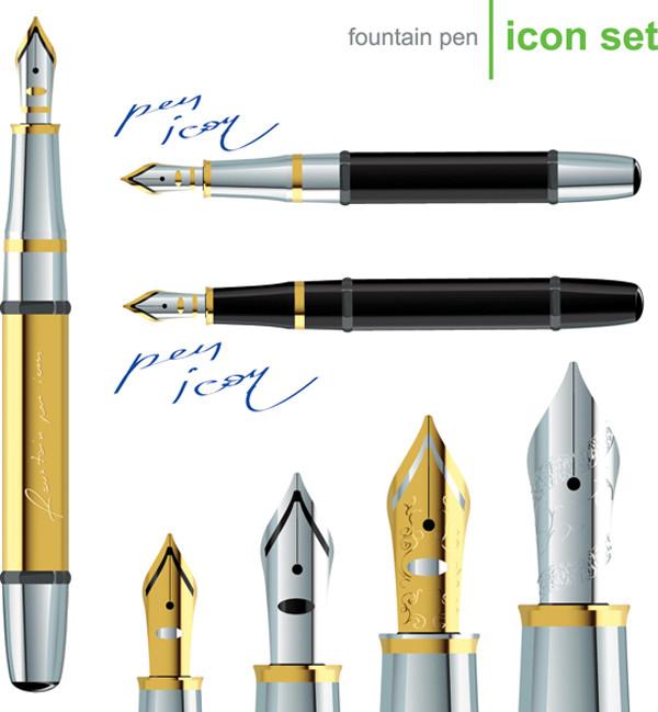 万年筆のクリップアート Pen gold silver stationery