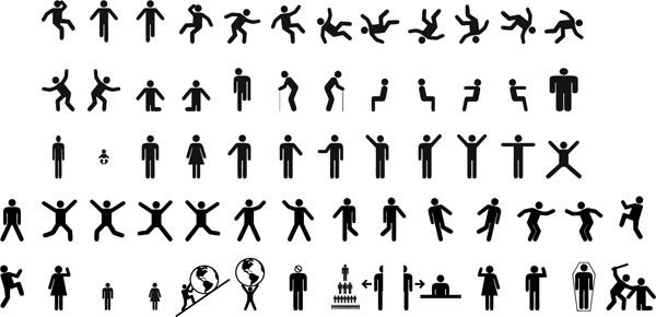動きのある案内板用ピクトグラム Man & woman sign pictograms