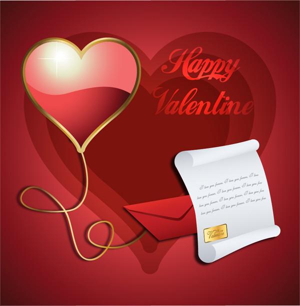 ハートが輝くバレンタインデーの背景 heart-shaped love letters envelopes