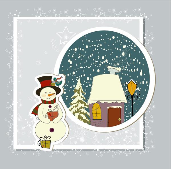 雪ダルマのクリスマスカード テンプレート beautiful christmas cards