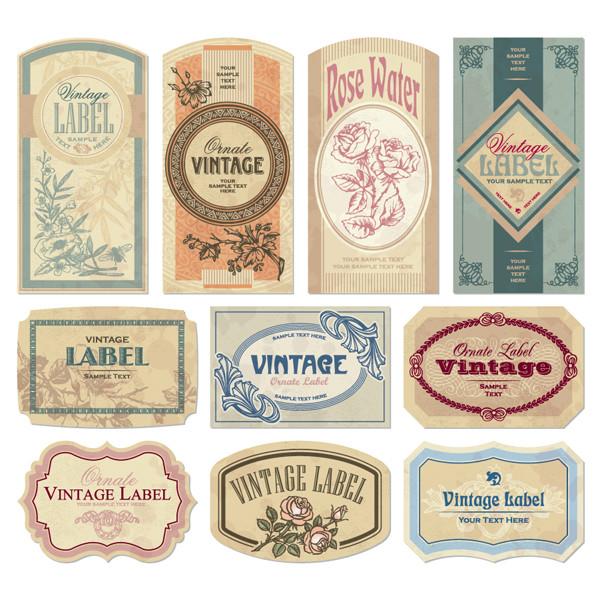 古風なラベル デザイン見本 nostalgic european label1