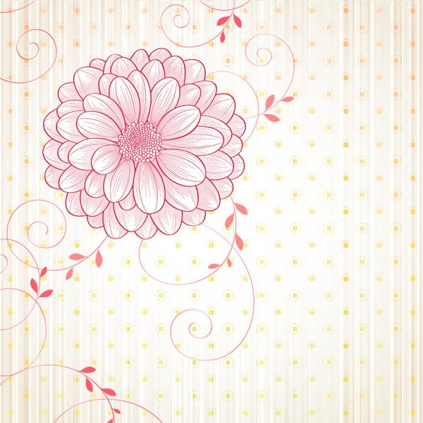 淡い大輪の花ビラが美しい背景 flowers vectors background