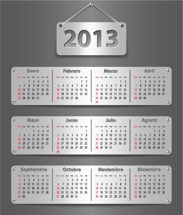 鮮やかなカレンダー テンプレート Vivid 2013 calendar templates vector5